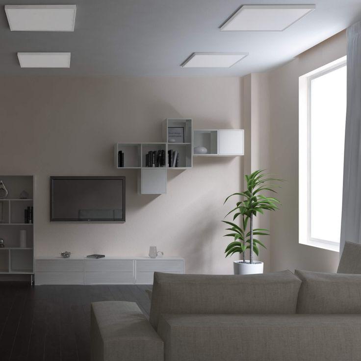 Moderne grifflose Küche mit zwei vavé® LED-Panels 970370 - led panel küche
