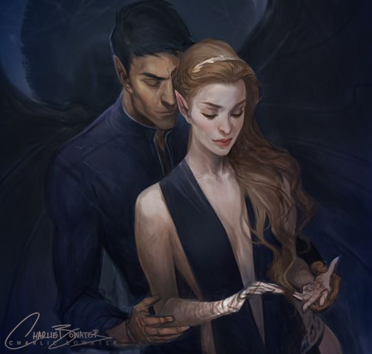 PLEASE dont hate me but i dont like this Rhys looks way to old p.s no long hair? (Rhys and Feyre by Charlie Bowater)