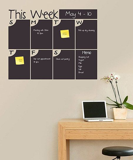 This could be cool for a home office or kitchen area. Those new chalk pens would make it easy to write on. :: 'This Week' Bubble Days Chalkboard Calendar Wall Decal - other styles available at Zulily today.