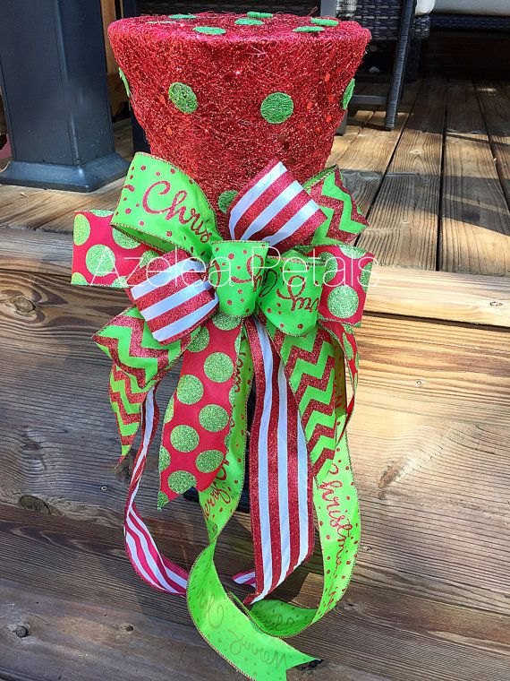 Christmas Top Hat Tree Topper Candy Red and Lime by Azeleapetals