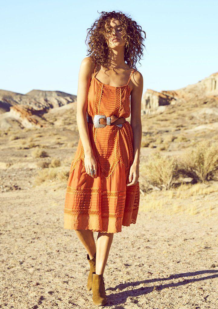 Old Days Day Dress Burnt Orange