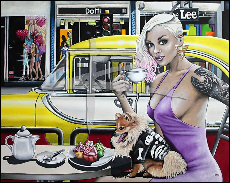 'High Tea on Chapel' is an acrylic on canvas painting featuring the famous Chapel Street in Melbourne by Australian artist Laural Retz