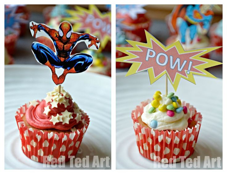 Superhero cupcakes for Dad this Father's Day!
