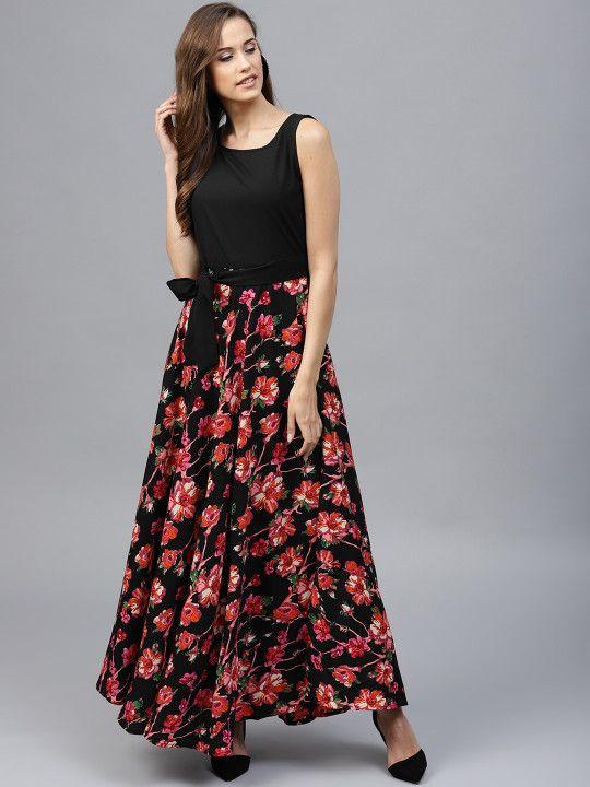 6e994e4aba4 Tokyo Talkies Women Black   Pink Printed Maxi Dress -