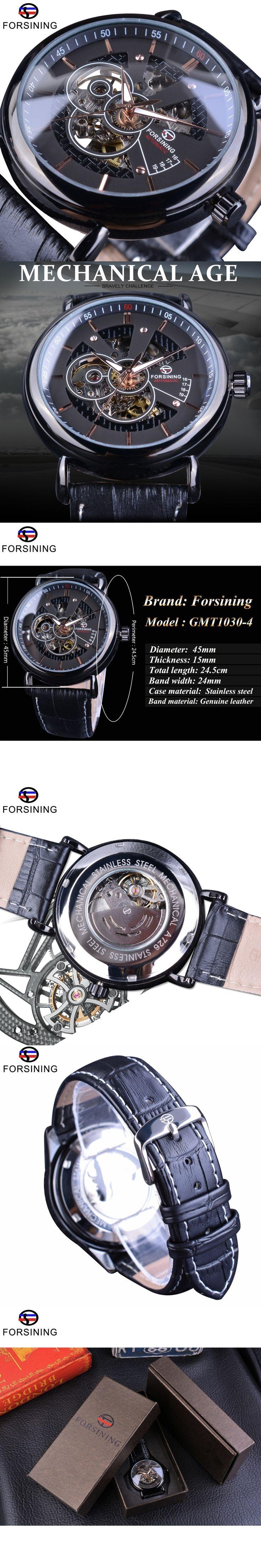 Forsining Transparent Case Avigator Series Genuine Leather Strap Fashion Skeleton Design Men Automatic Watches Top Brand Luxury