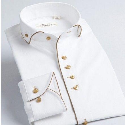 Nuevo estilo francés para hombre con m de algodón de cuello 100% slim Fit hombres de moda camisa de vestir