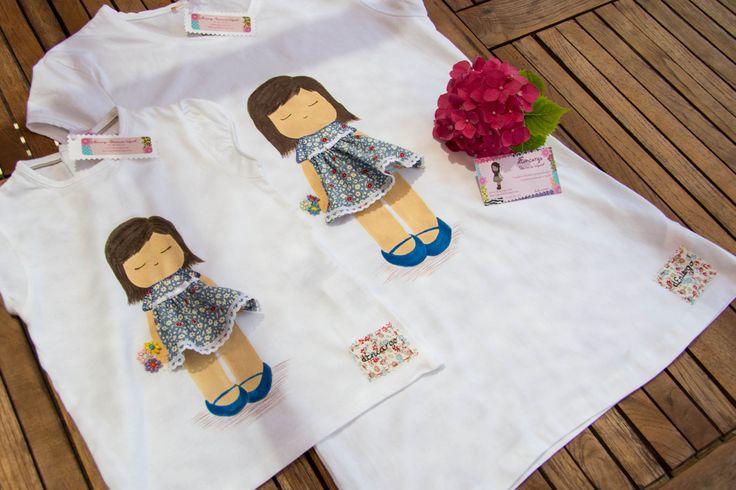 """Dos muñecas """"Jardin"""", para su mamá y su hija, pintada a mano con aplicaciones de tela. Se puede personalizar con el nombre. Si te gusta y quieres una, contacta conmigo a traves de facebook."""