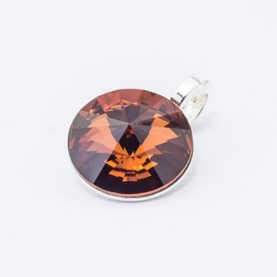 Silver plated Swarovski Rivoli Pendant 12mm Smoked Topaz  Dimensions: length: 1,7cm stone size: 12mm Weight ~ 1,40g ( 1 piece ) Metal : silver plated brass Stones: Swarovski Elements 1122 12mm Colour: Smoked Topaz 1 package = 1 piece Price 9.40 PLN(about 2.5 EUR)