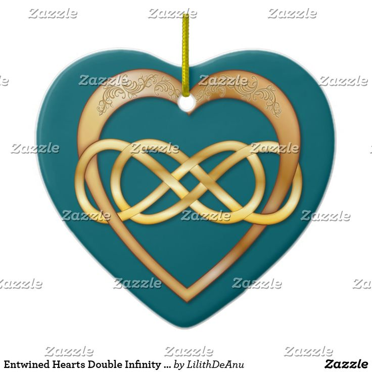 Entwined Hearts Double Infinity - Gold on Teal Christmas Ornament