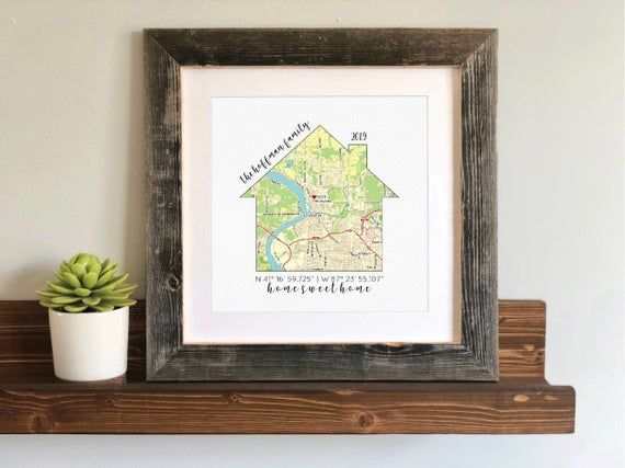 Gifts Fornew Homeowners For Christmas 2020 Christmas Gift for New Homeowners Personalized Map with heart