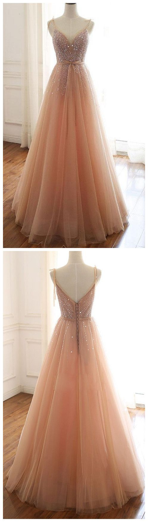 Tulle beads sequin long prom dress, evening dress