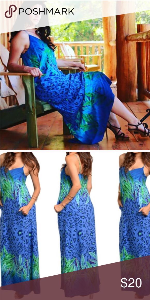 Royal BlueTropical Green Print Maxi Dress This trendy spaghetti strap maxi dress features a mixed tropical theme with leopard pattern print and two side pockets. Fabric Content: 100% POLYESTER. Dresses Maxi
