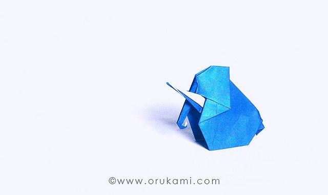 Kunuhiko Kasahara Origami Elephant. Folded and photographed by Himanshu Agrawal.