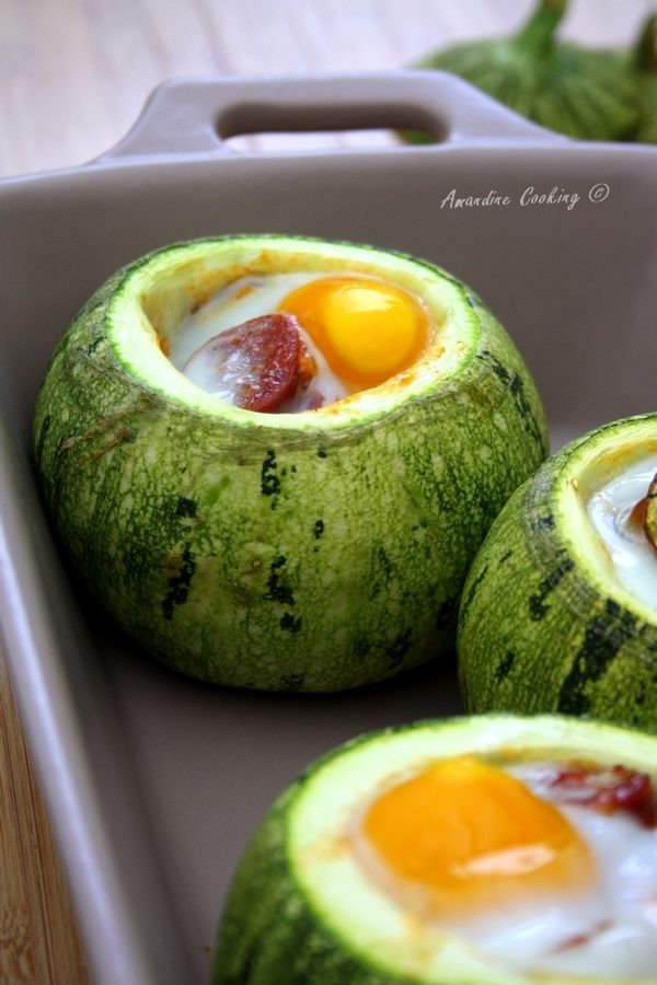 Courgettes rondes farcies poivron tomate chorizo oeuf - Cuisiner courgettes rondes ...