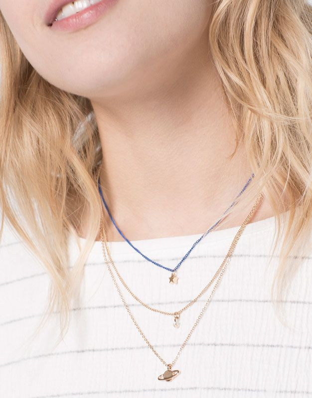 :3-PACK OF STAR AND PLANET NECKLACES