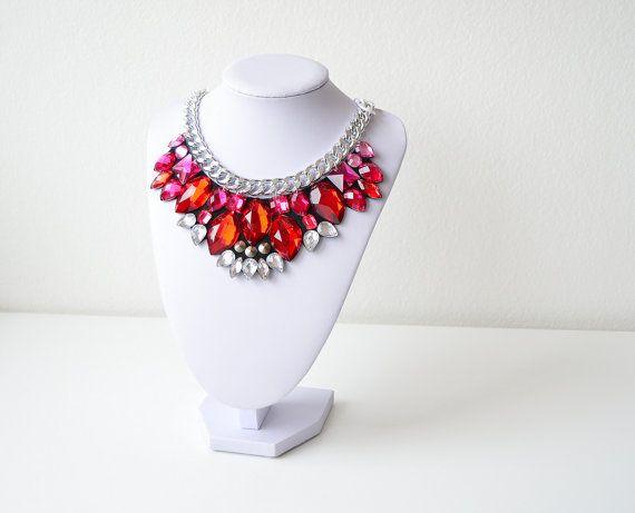 Silver Red Rhinestone Gem Crystal Statement Necklace by GemsOver