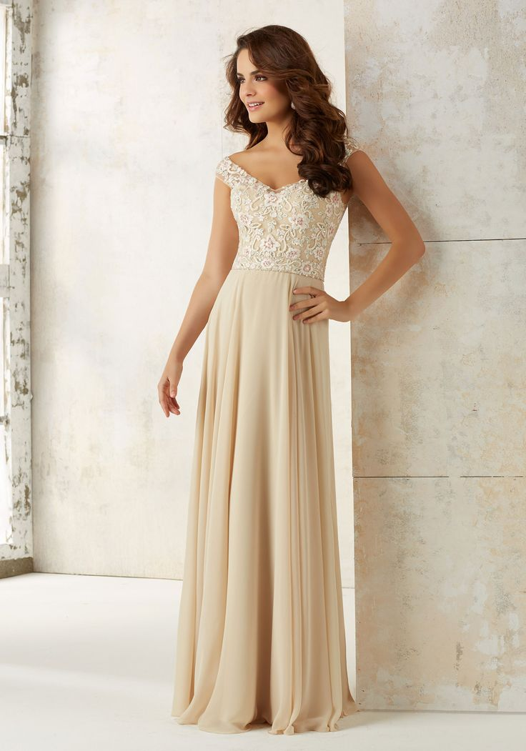 Morilee by Madeline Gardner Bridesmaids Style 21504 | This Elegant Bridesmaids Dress Features a Feminine Off-the-Shoulder Embroidered V-neck Bodice Accented with Delicate Beading. A Flowy Chiffon Skirt Completes the Look. Zipper Back
