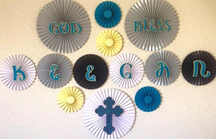 Baptism Theme Paper Fan Backdrop- Set of 13, First Communion Decor, Baptism Party Decor, Baptism Backdrop, First Communion Backdrop, by #pleatsonsheets