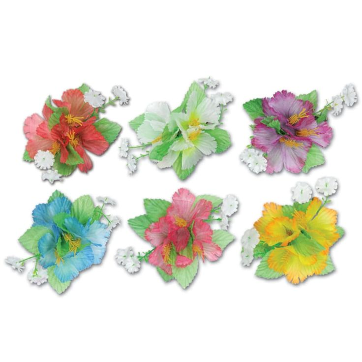 Club Pack of 12 Multi-Colored Tropical Luau Hibiscus Hair Clip Party Favor Costume Accessories, Multi