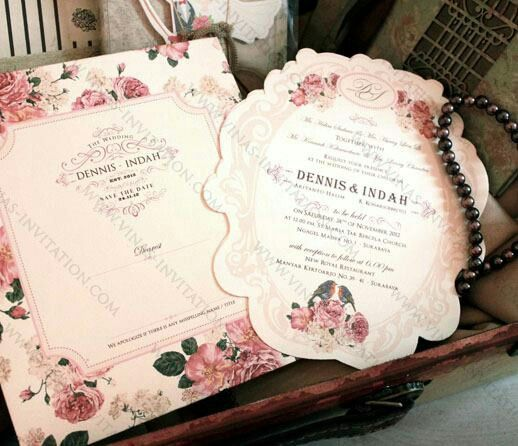 Vinas invitation. Dennis & Indah rose floral invitation . Shabby chic. Any questions please fill in our contact form at website www.vinas-invitation.com