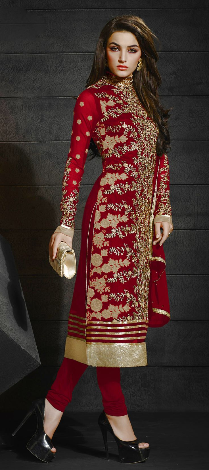 456253: Red and Maroon  color family  stitched Party Wear Salwar Kameez .