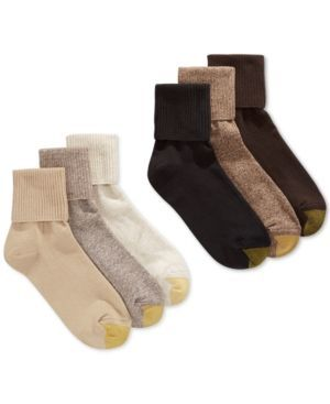 Gold Toe Women's Turn Cuff 6-Pack Socks, also available in Extended Sizes - Brown Multi Pack