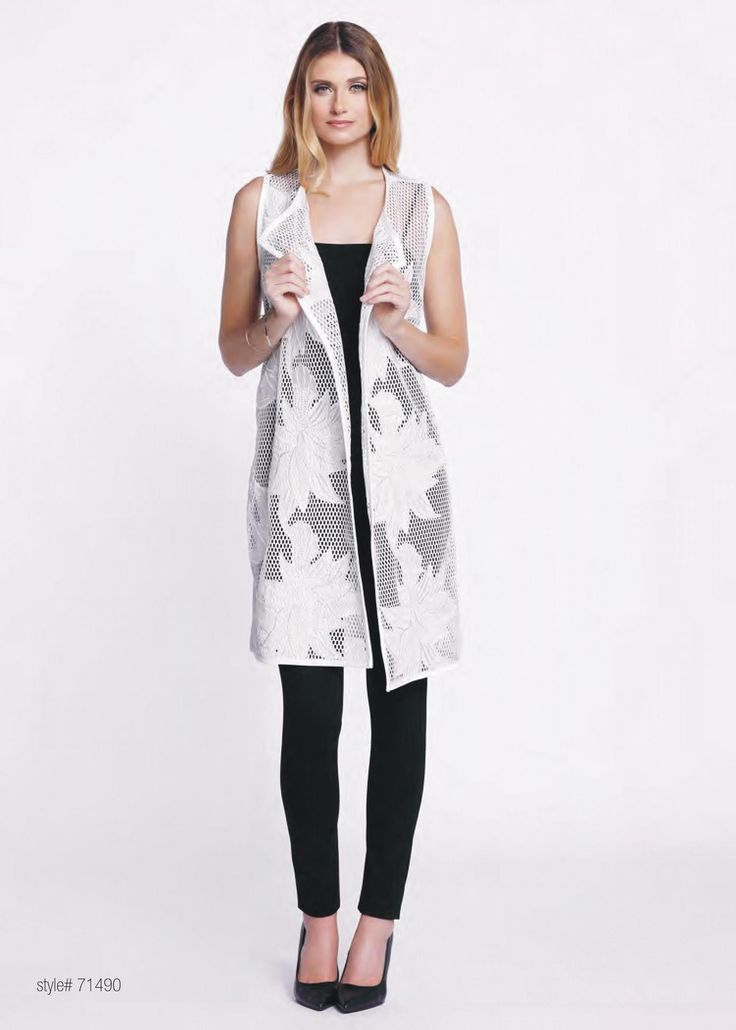 Floral embroidered tropical duster vest  Available in Black & White
