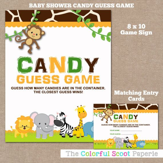 INSTANT DOWNLOAD, Jungle Baby Shower Candy Guess Game, Candy Guessing Game,  Mu0026Ms, Baby Shower Game, Jungle, Safari, Boy, #0016