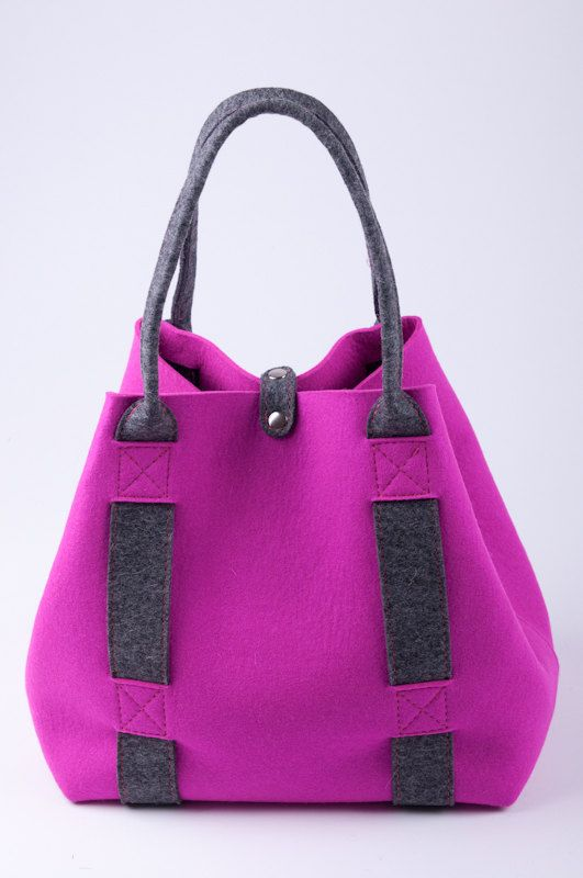"""Pink felt shopper """"Inness"""". Original, beautiful and unique. Made from natural (100% wool) felt premium quality 3mm thick."""