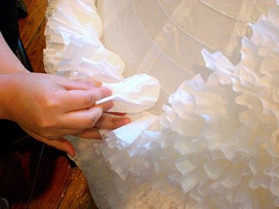 scrunched coffee filters cover huge paper lantern - diy instructions
