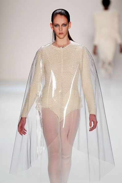 Wrapped in Plastic... clear plastic cape with sculptural silhouette; transparency & volume // Leandro Cano