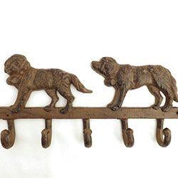 Suporte 2 Cachorros São Bernardo 5 Ganchos - Ferro - 35x16 cm - Porta chaves / Cabideiro / Gancheira