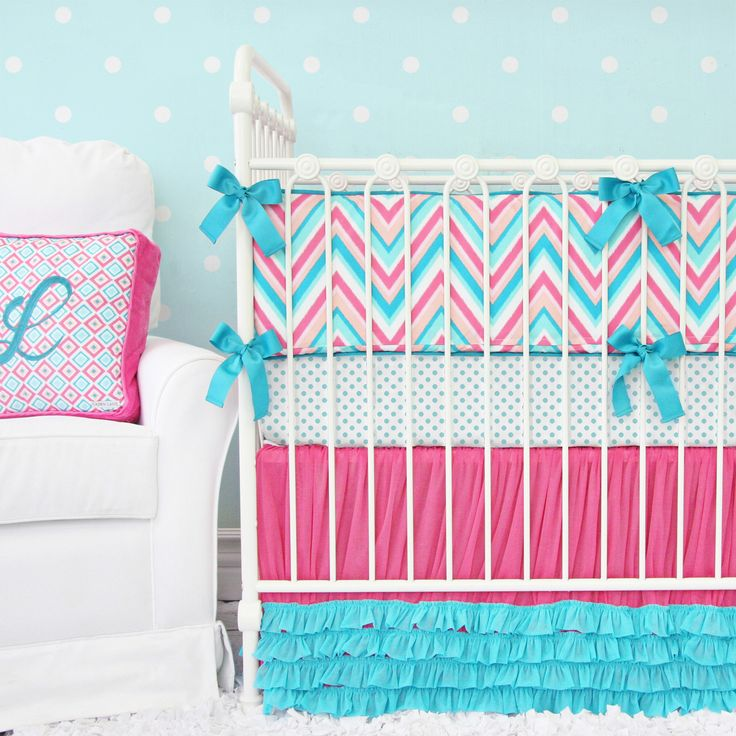 I LOVE THESE COLOURS AND THIS BEDDING.  SEE THE NEXT PIN FOR PHOTOS OF IT IN LILA'S CHEVRON NURSERY. - Caden Lane Baby Bedding - Lila's Tutu Petti Crib Skirt TM Baby Bedding, $192.00 (http://cadenlane.com/lilas-tutu-petti-crib-skirt-tm-baby-bedding/)