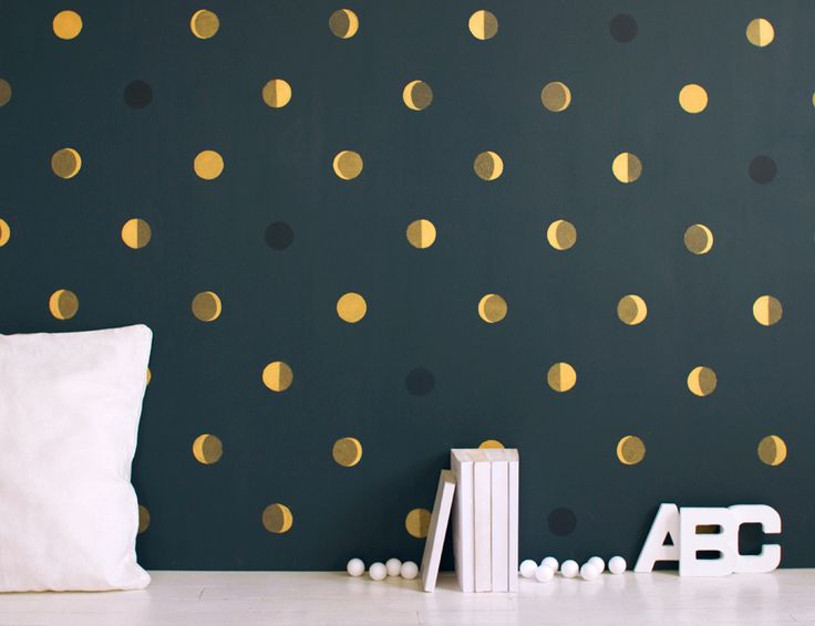 phases of the moon wallpaper. would make such a lovely accent wall: Gold Polka Dots, Moon Phases, Wall Paintings, Paintings Wall, Gold Dots, Powder Rooms, Accent Wall, Kids Rooms, The Moon