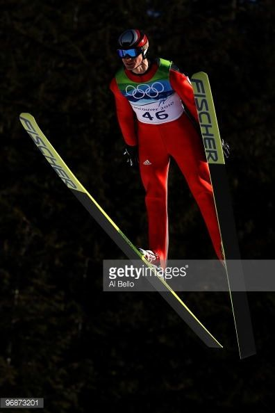 Andreas Wank of Germany soars off the Long Hill during the qualification round on day 8 of the 2010 Vancouver Winter Olympics at Ski Jumping Stadium...
