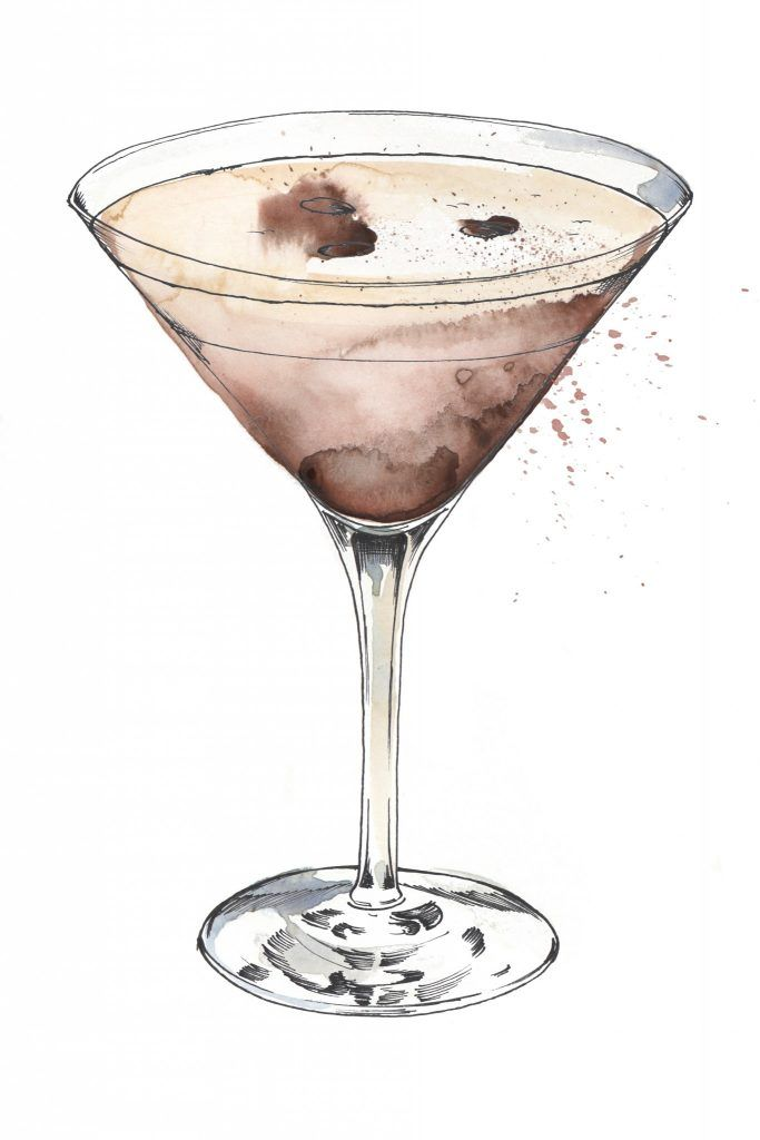 Espresso Martini illustration. I love painting cocktails as watercolour and pen and ink works so well creating the glass and liquid. Commission your very own artwork by clicking the link.