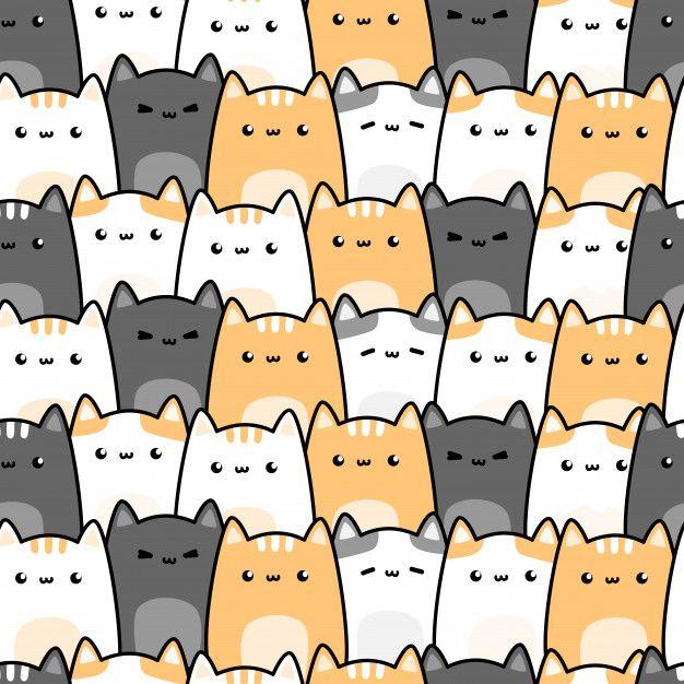 Cute Cat Kitten Cartoon Doodle Seamless Pattern In 2020 Kitten