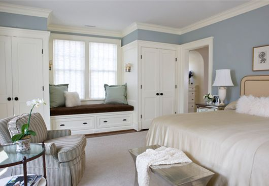 closets added to either side of the window plus a window seat  - Palisades, NW DC -  Anne Decker Architects