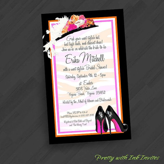 fun bridal shower  bachelorette  birthday invitations  kentucky derby  hat n heels  cocktail party