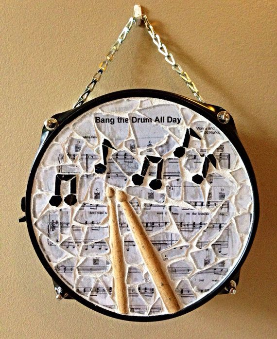 """I just want to bang on my drum all day""  Repurposed snare drum mosaic wall hanging- art for the drummer in your life!"