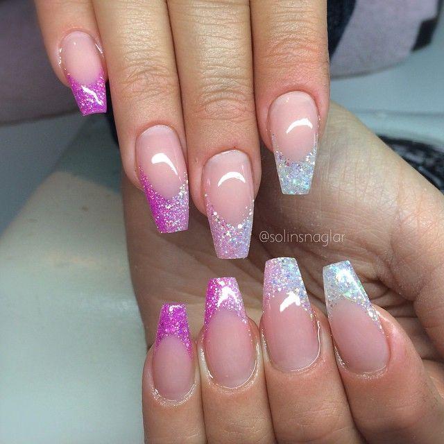 Vitt, ljusrosa och rosa/lila glitter i smile