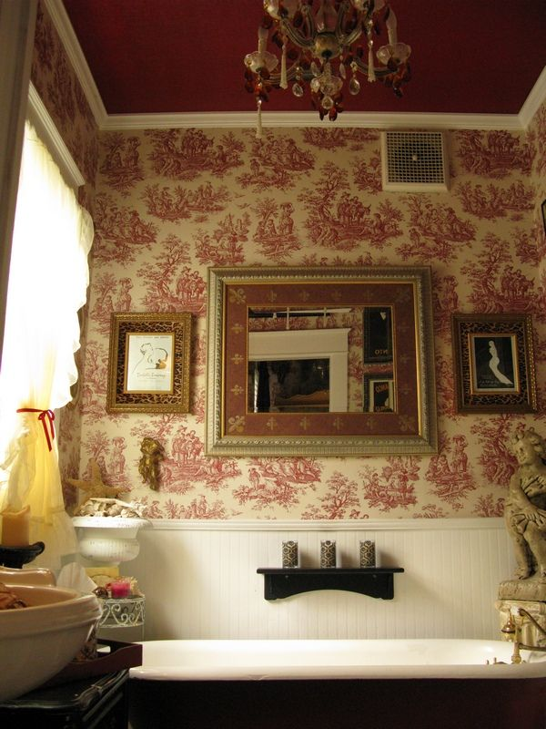 ♥ the red & white toile wallpaper and red ceiling, deardaisycottage.typepad.com