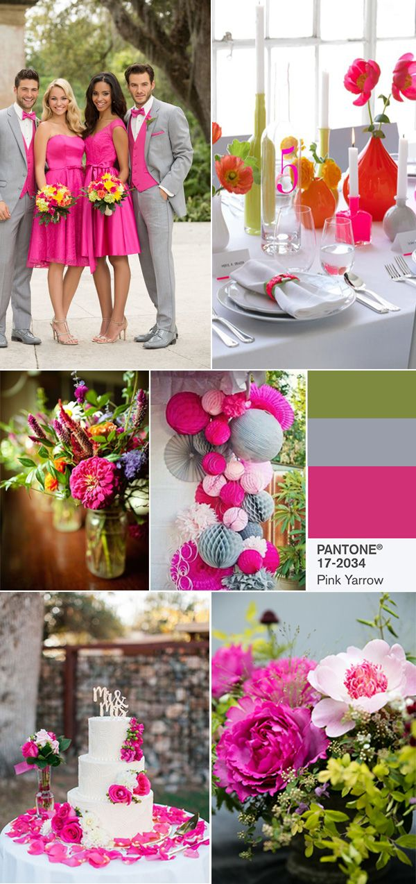 pink yarrow and grey wedding color combos for 2017