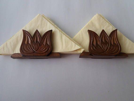 Handcarved marrón especial hecho a mano Servilletero set tulip servilleta titular de regalo para mujeres, hombres, chica, Portarollos, accesorios para la mesa rústica