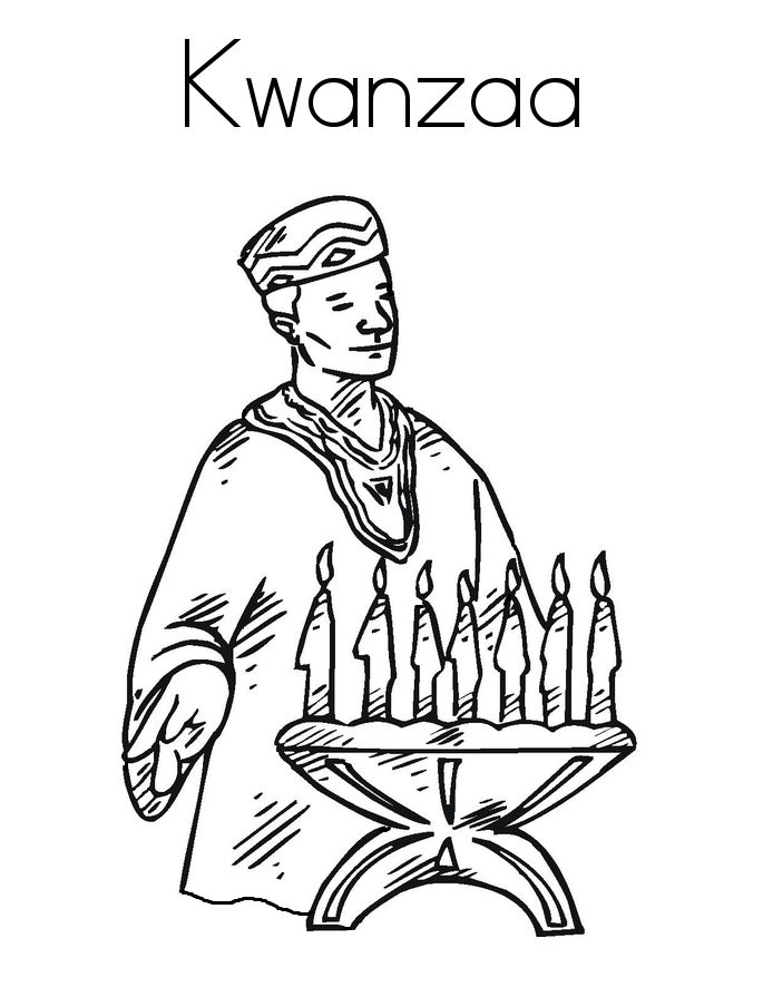 The Man And Candles Kwanzaa Coloring Pages For Kids Printable