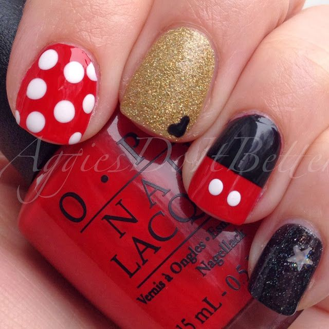 mickey mouse nail art   ... also, after much deliberation, decided to add some small Mickey ears