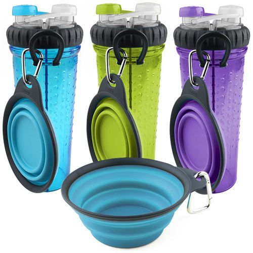 Check out this water bottle - one side for your drink and the other for your dog's water. Comes with collapsible travel cup for your dog too http://www.dfordog.co.uk/h-duo-dog-water-bottle-travel-cup.html