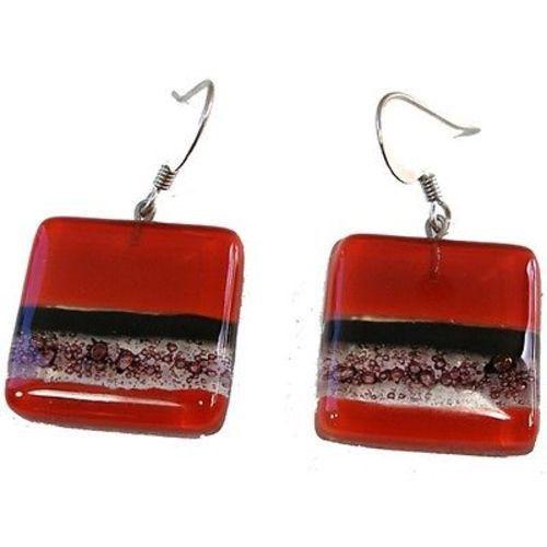 手机壳定制jordan flight  size  Square Fused Glass Earrings  Red and Bubbles Design  Tili Glass