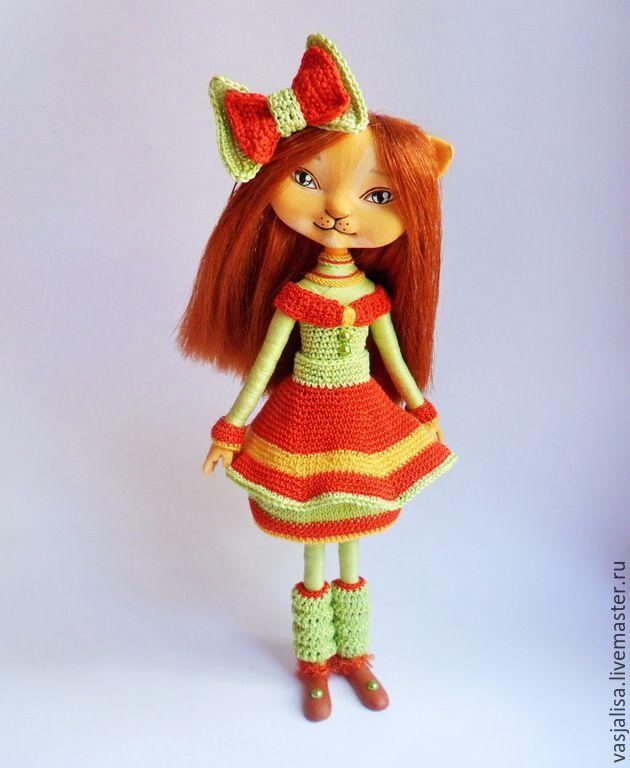 Купить Сувенирная кукла Кошка Лиззи - кукла кошка, куколка кошка, кукла кошечка