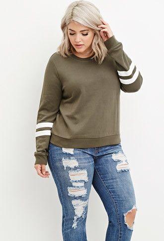Plus Size Varsity-Striped Sweatshirt | Forever 21 PLUS - 2000145604
